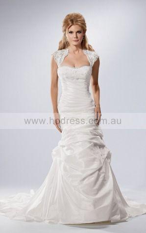 A-line Cap Sleeves Strapless Buttons Floor-length Wedding Dresses fxcf1034--Hodress