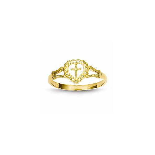 14K Dia-Cut Childs Heart  Cross Ring *** Read more reviews of the product by visiting the link on the image.