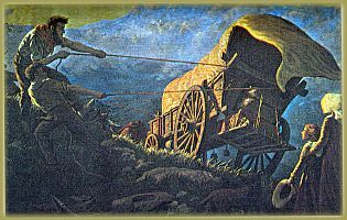 """Talle mismoedige Boere trek van 1836 af noordwaarts onder die Britse gesag uit (die """"Groot Trek"""") en stig hul eie republieke in die noorde: die Oranje-Vrijstaat en Zuid-Afrikaansche Republiek of Transvaal."""