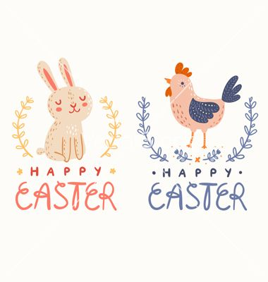Happy easter graphic vector bunny and chick logo by stolenpencil on VectorStock®