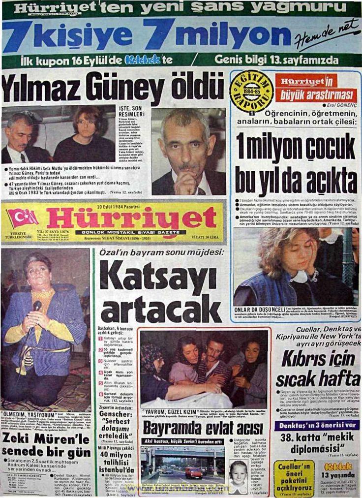 Hürriyet gazetesi 10 eylül 1984