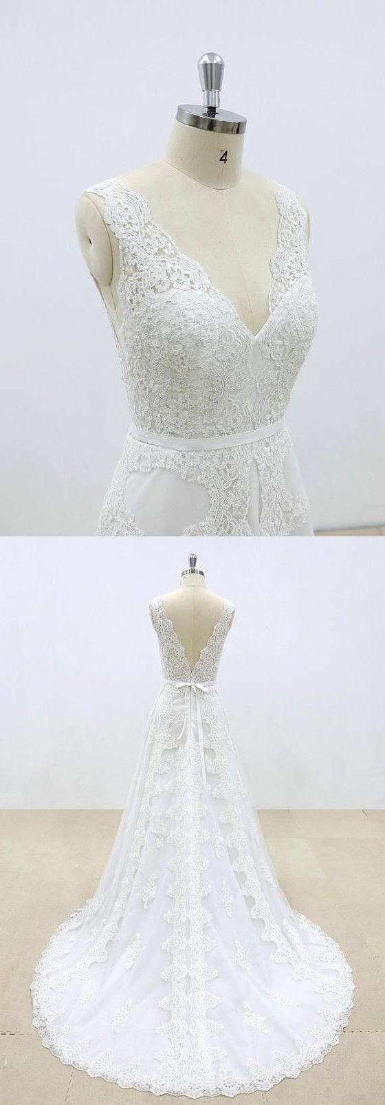 Hot Selling Gorgeous V-neck Lace Sleeveless Wedding Dresses with train, WD0367