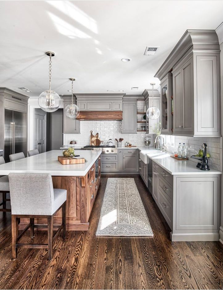 Grey And White Kitchen With Natural Wood Accents Home Decor