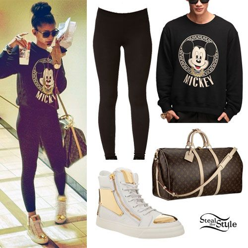 Zendaya: Mickey Sweater, Gold Toe Sneakers
