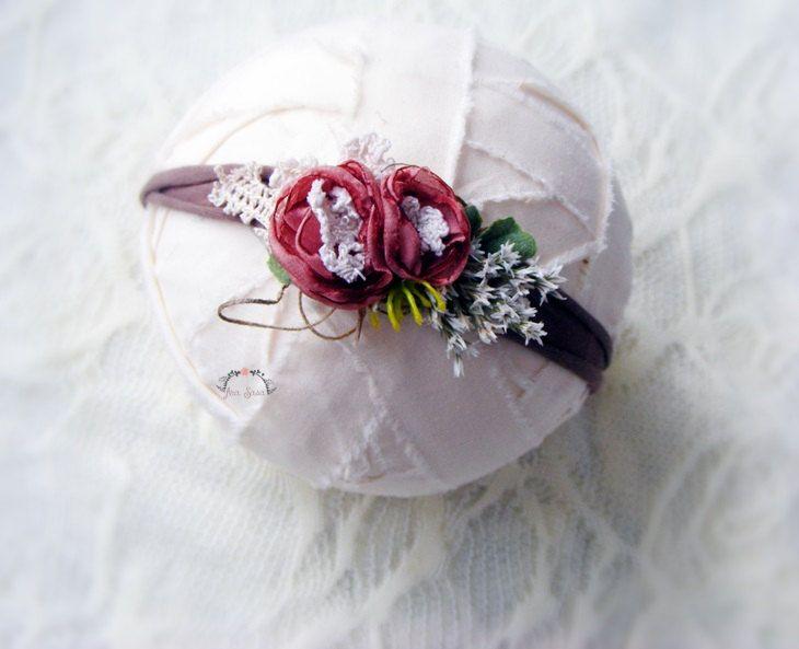 Newborn headband, Newborn tieback, Photography prop,Newborn prop, Photography headband, Elastic headband,Flower headband by AraSASA on Etsy