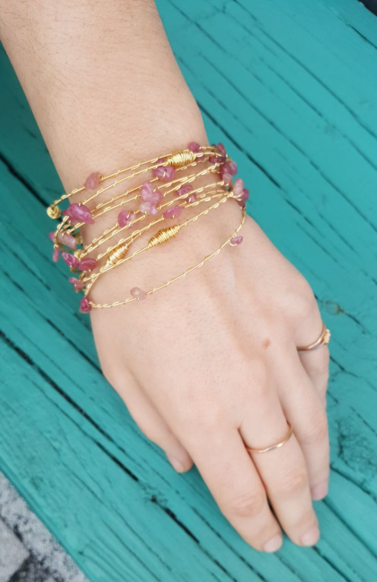 Recycled guitar string jewelry - Pink Tourmaline Bangles Made With Recycled Guitar Strings Guitar String Jewelry Set Of
