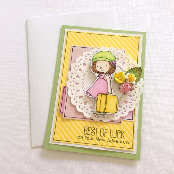 Bon Voyage or Farewell Card  Enjoy your new by JessideeHandmade