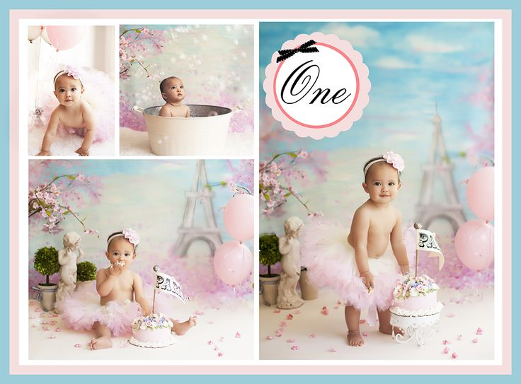 One year old Paris - French inspired cake smash birthday shoot at Willow Baby Photography