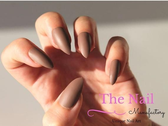 Chocolate Brown Matte Stiletto Nails – Künstliche Nägel – Brown False Nails ….. – Nagel Designs