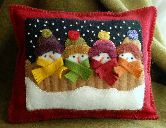 Christmas wool applique snowman pillow primitive felted wool snowmen tuck shelf pillow ornament hand dyed wool quilt block winter snow scene