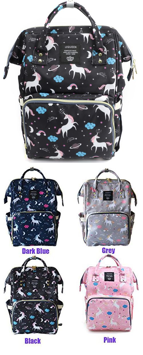 1c816707fa76 Waterproof Diaper Bag Backpack Multi-Function Large Capacity Travel Backpack  Nappy Bags for Baby with Unicorn Cloud Star Pattern (Black)