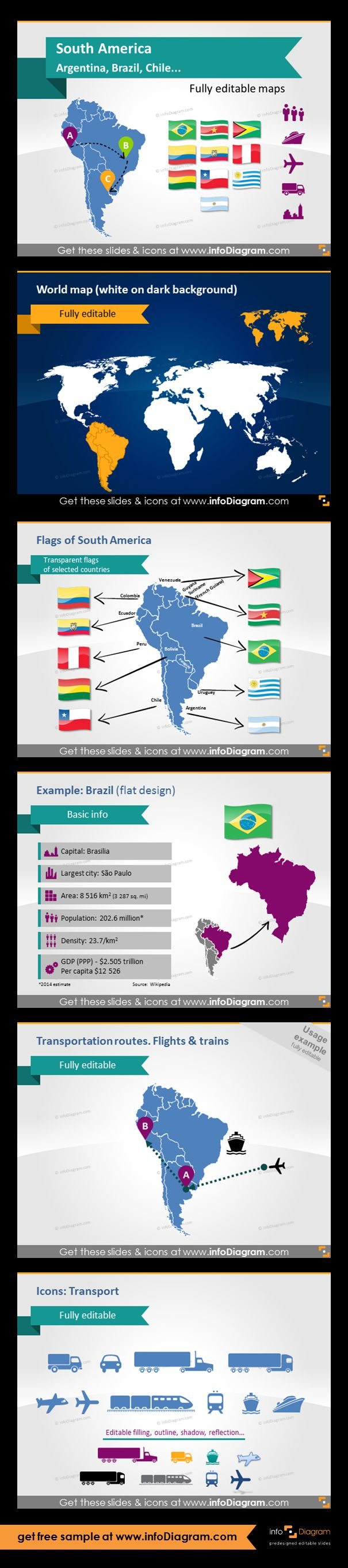 South America countries - editable PowerPoint maps, localization and transport icons, country statistics. Fully editable maps, icons, arrows. World map with dark background, flags of South America, Brazil map with basic information, transportation routes: flights and trains between the countries - infographics example. Transportation icons: Truck, Train, Plane, Ship, Bus, Lorry for illustrating logistic routes on the South America map.