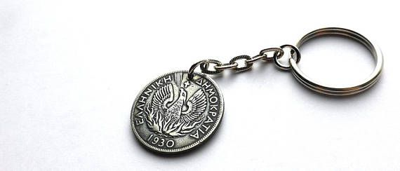 Coin keychain Greek keychain Phoenix Mythology Bird