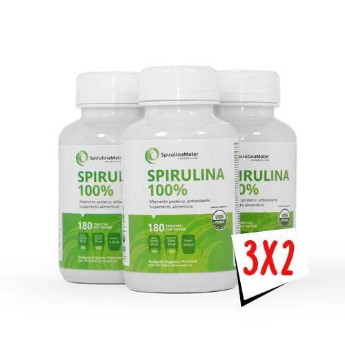 3x2 Spirulina 100% Natural Tabletas 180 Ingredientes: Spirulina Máxima. Características: Bajo en calorías, 0% colesterol, libre de Yodo, también es libre de grasas trans, libre de aditivos, librede gluten, sin azúcar. Buen aporte en: Contiene proteína, aminoácidos esenciales y noesenciales. Además es rica en hierro, ácido grasos esencialesácido fólico, calcio, vitamina E, omega 3.