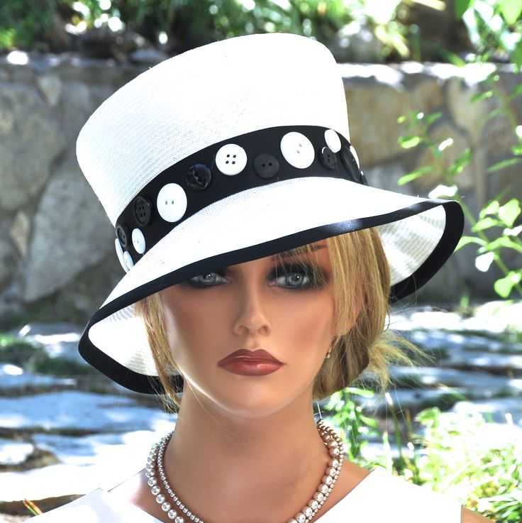 Women's Black and White Hat, Wedding Hat, Formal Hat, Cloche, Unique Hat, Church Hat, Dressy Hat Tailored Hat, Ladies Dress Hat Occasion Hat