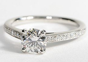 Love this ring! Heirloom Petite Cathedral Pavé Diamond Engagement Ring in Platinum