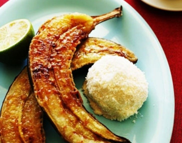 Toffee lime bananas with coconut ice-cream