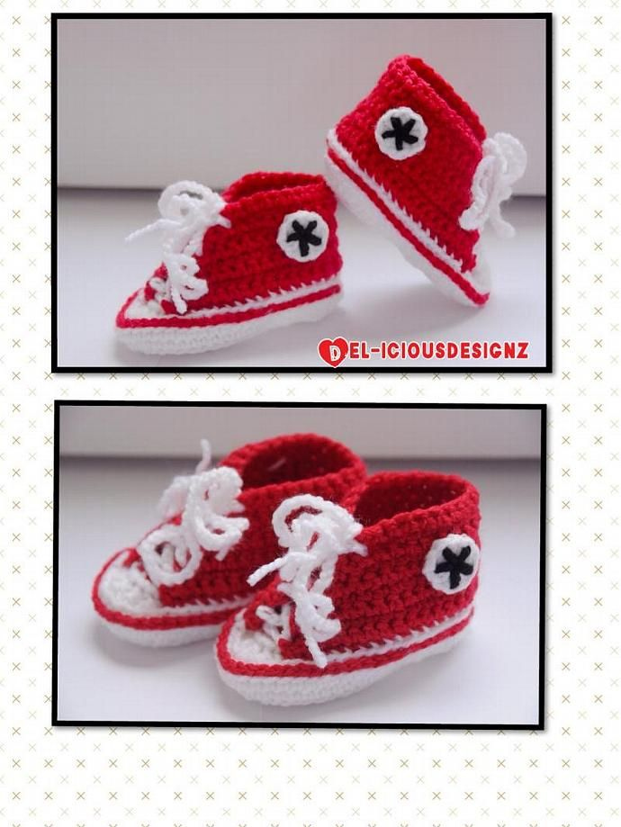 Baby Converse Style Booties - Red by DELiciousDesignz, $22.00 USD