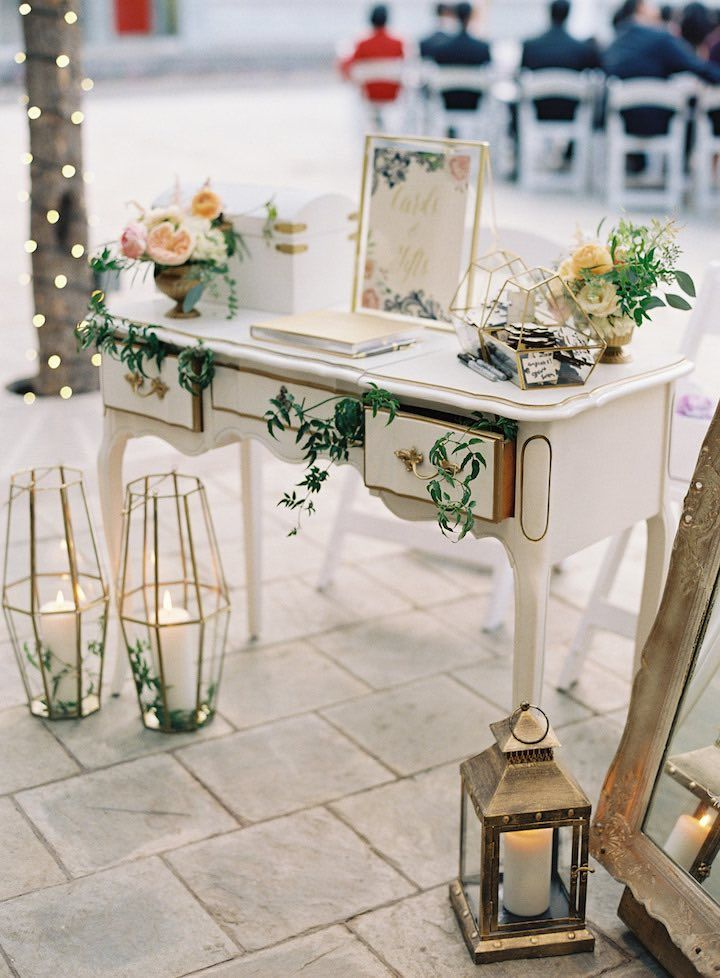 Featured Photographer: Caroline Tran; wedding reception guestbook table idea