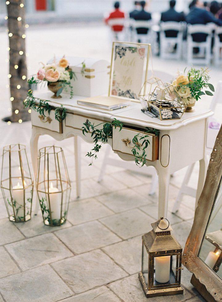 Featured Photographer:Caroline Tran; wedding reception guestbook table idea