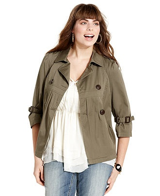 American Rag Plus Size Jacket, Military Double-Breasted - Junior Plus Size - Plus Sizes - Macy's