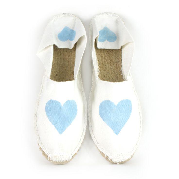 Alpargata pintada corazón  azul