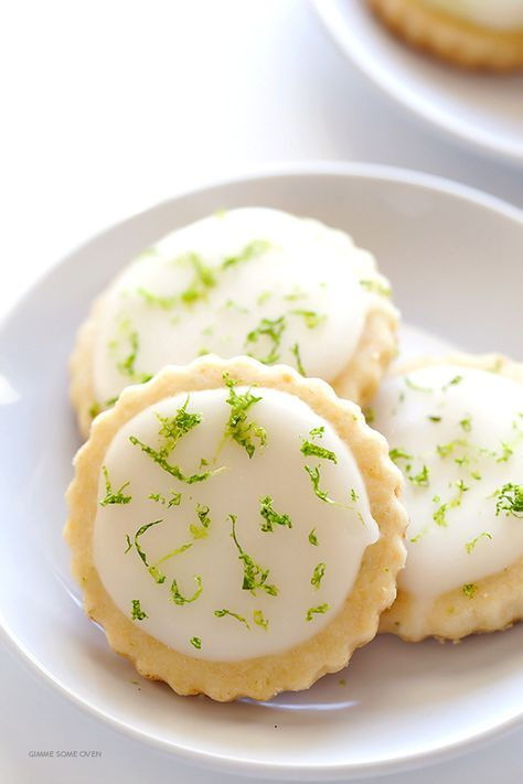Coconut Lime Shortbread Cookies -- full of fresh lime, coconut, and buttery flavors, and topped with a light lime glaze. One of my all-time favorite cookie recipes! | http://gimmesomeoven.com