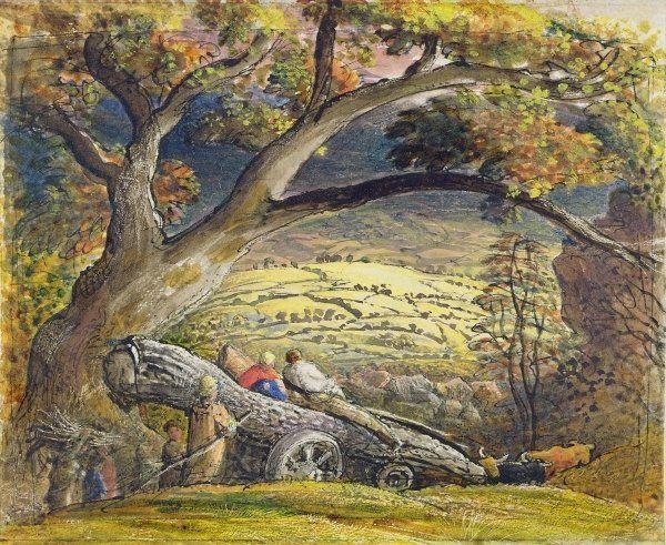 "c.1833/34 ~ ""The Timber Wain"" Watercolour & Gouache on Paper by Samuel Palmer (1805-1881), British Landscape Painter, Etcher, Printmaker & Writer ...."