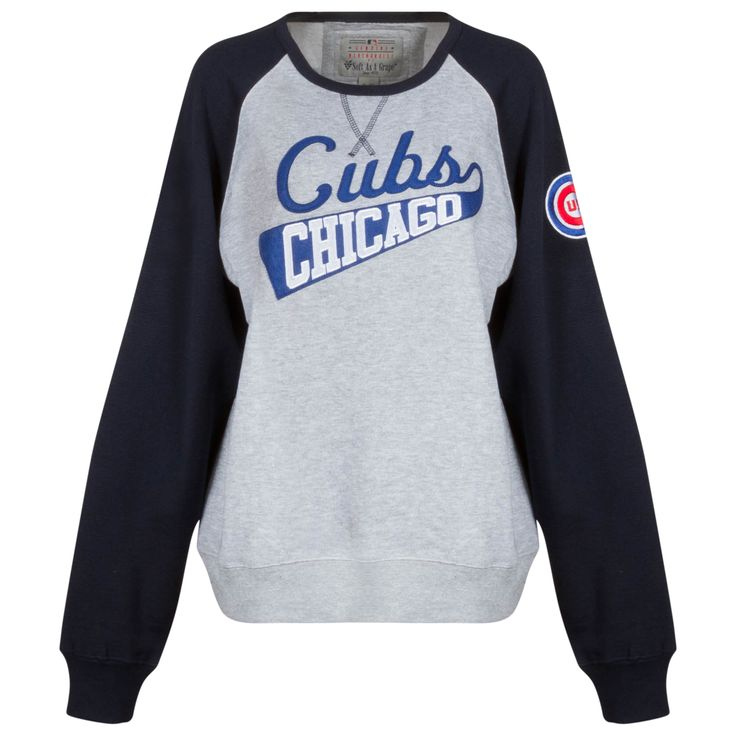 "Chicago Cubs Women's Grey and Navy ""Cubs Chicago"" Crew Neck Sweatshirt by Soft as a Grape #Chicago #ChicagoCubs #Cubs"