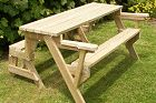 1 piece folding bench seat to picnic table and seats