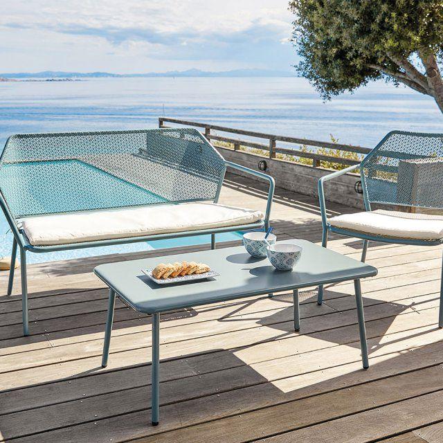 salon de jardin en mtal bleu pastel avec banquette fauteuil et table basse maisons - Salon De Jardin Mtal Color