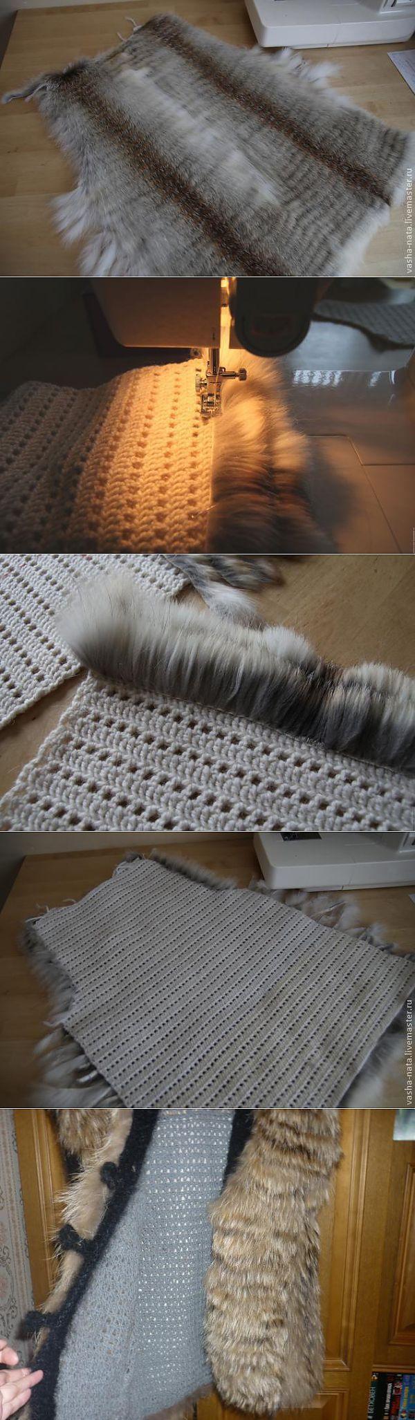 Полосочки меха пришитые на трикотаж