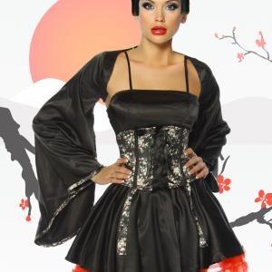 Fernöstliche Unterhaltungskünstlerin! Bezauberndes und hochwertiges 4-tlg Satin-Geisha-Kostüm für ein Raunen auf...