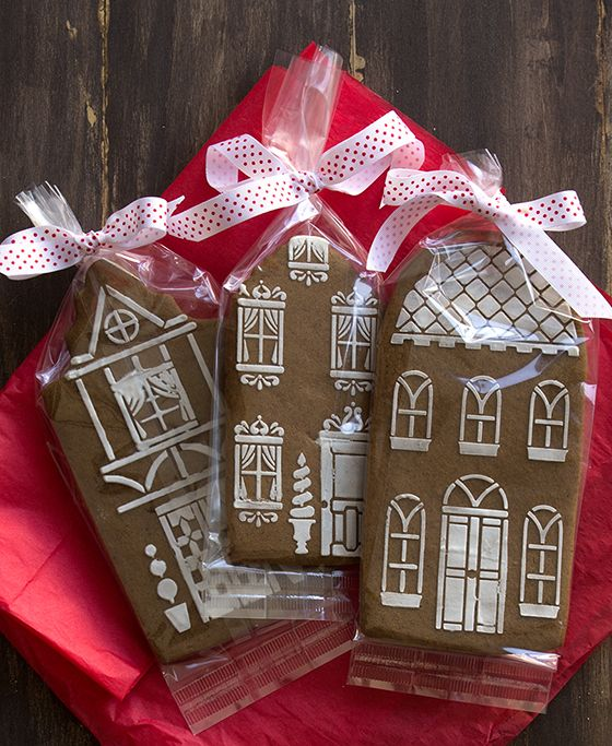 Thinking ahead for next year!  You can order both the house cookie cutters and stencils to make these beautiful cookies - just make the cookies, position the stencil on the cookie and brush on a light coat of frosting!