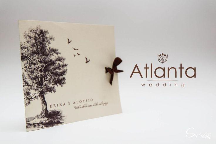 Atlanta, modelo Rustico para casamento, papel Marfim Telado 240g com laço de cetim. Convite super Criativo para o seu casamento.