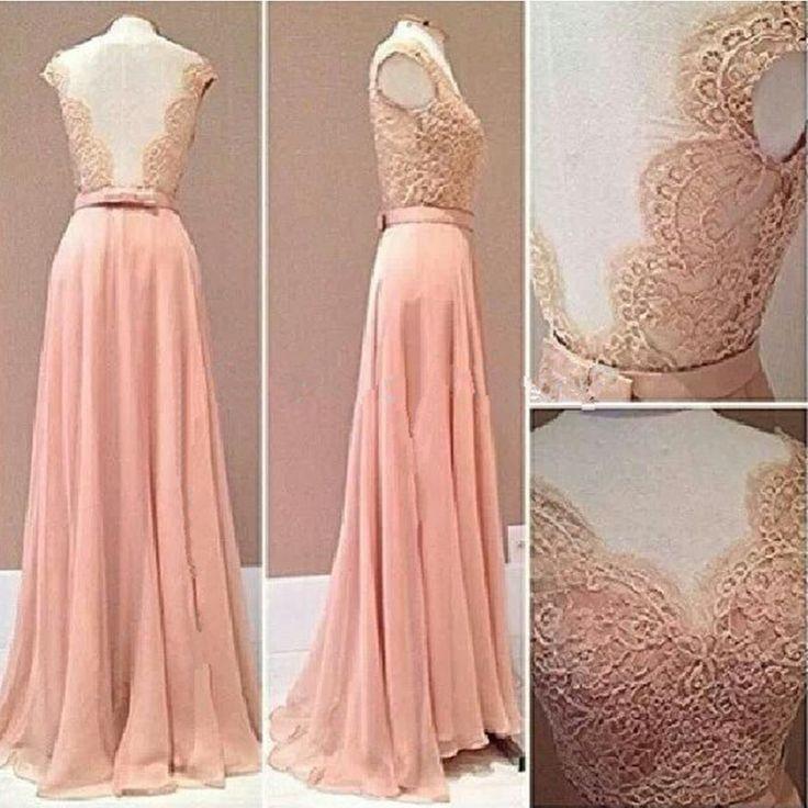 Robe De Soiree 2016 Pink Lace Chiffon Plus Size Prom Dresses Backless A Line Long Elegant Occasion Gowns Vestido De Formation