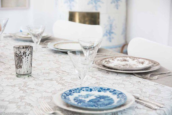 Blå med brun - blue together with brown #borddekking #table setting #wedding #party #selskap #bryllup #konfirmasjon #dåp #gustavsberg #utleie