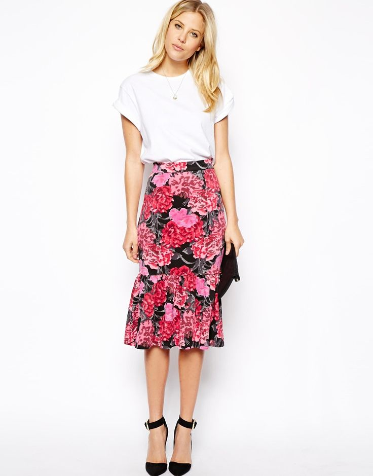ASOS Scuba Pencil Skirt in Floral Print with Peplum Hem