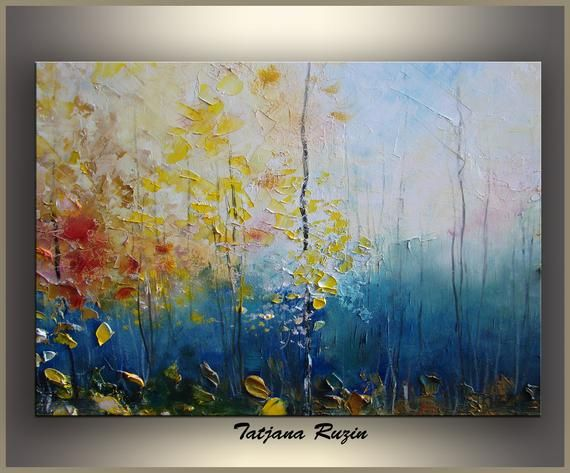 Autumn Landscape Painting On Canvas Forest Oil Painting Palette Knife Modern Painting Wall Art Fall Abstract Large Landscape Art Abstract Floral Paintings Painting Canvas Painting Landscape