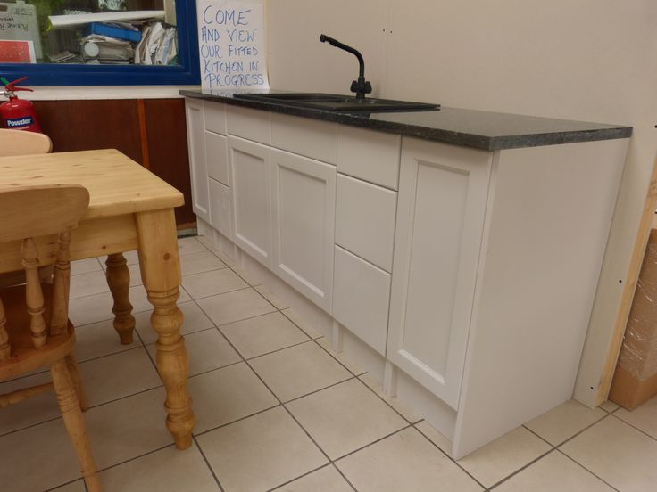Pine painted kitchen and marble worktop
