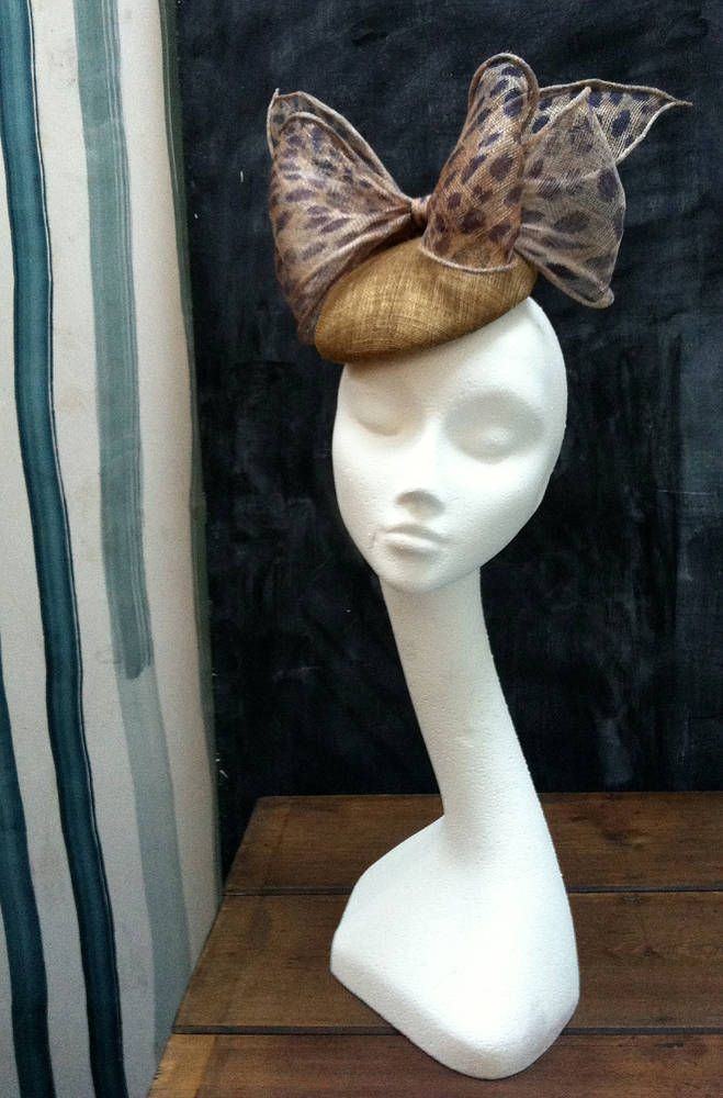 Gold cheetah bow hand made cocktail hat for races, weddings, ascot or just for a party! by fifilabelle