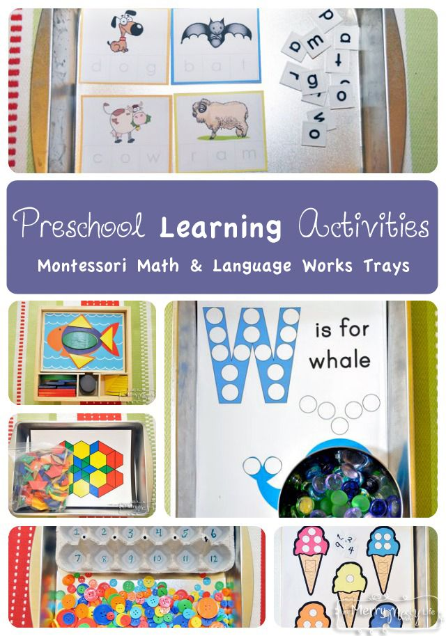 Preschool Learning Activities - Montessori Math and Language Works and Trays