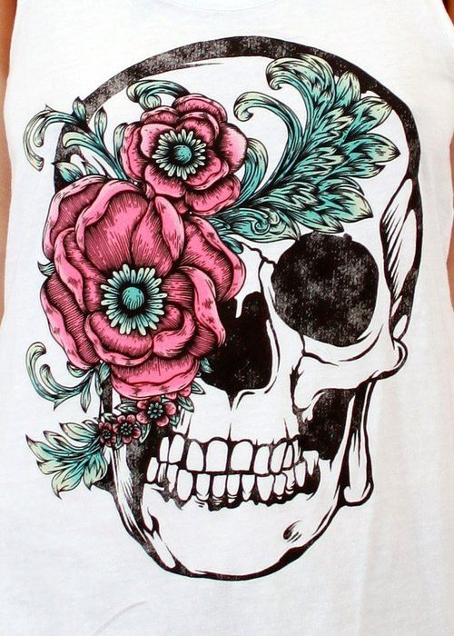 "I would so get this as a tattoo idk were, but it shows my ""girly"" side with the flowers and color and the with the skull showing my ""dark"" or ""edgy"" side CX"
