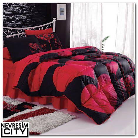 Kristal Amour uyku seti kırmızı modeli