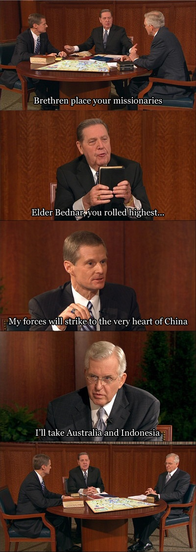 The truth behind where missionary callings come from. #apostlesplayingrisk #awesome #thisweekinmormons