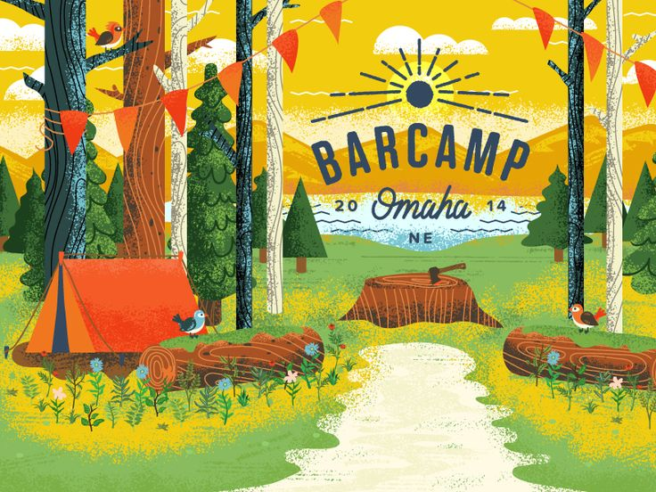 Illustration for Barcamp Omaha 2014. barcampomaha.org https://dribbble.com/shots/1650072-Barcamp-Illustration