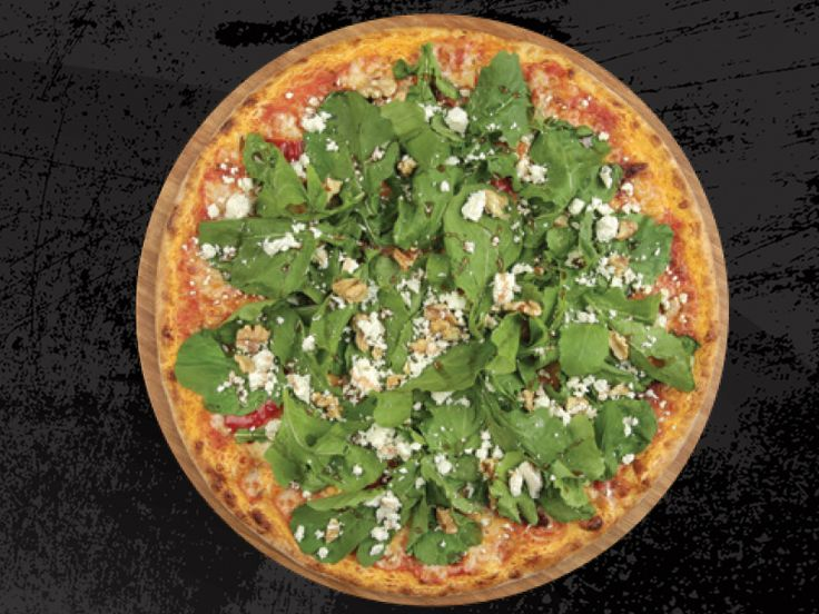 Seventeen Pizza - PİZZA EGE - Özel Domates Sosu, Mozzarella, Közlenmiş kırmızı Biber, Kurutulmuş Domates, Roka, Tulum Peyniri, Ceviz, Nar ekşisi