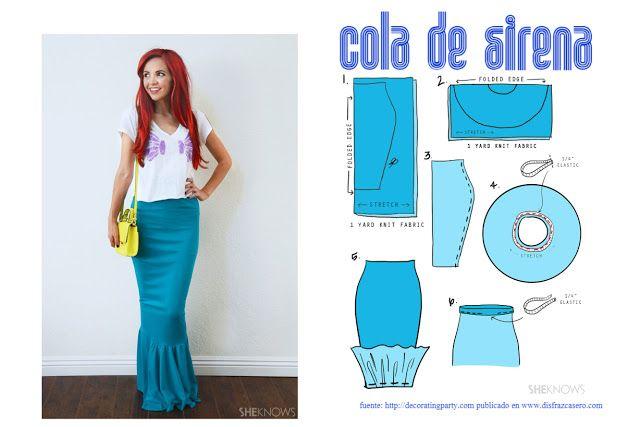 Ideas Para Disfraz De Sirena Disfraz De Sirena Sirena Disfraz Niña Disfraz De Sirena Casero