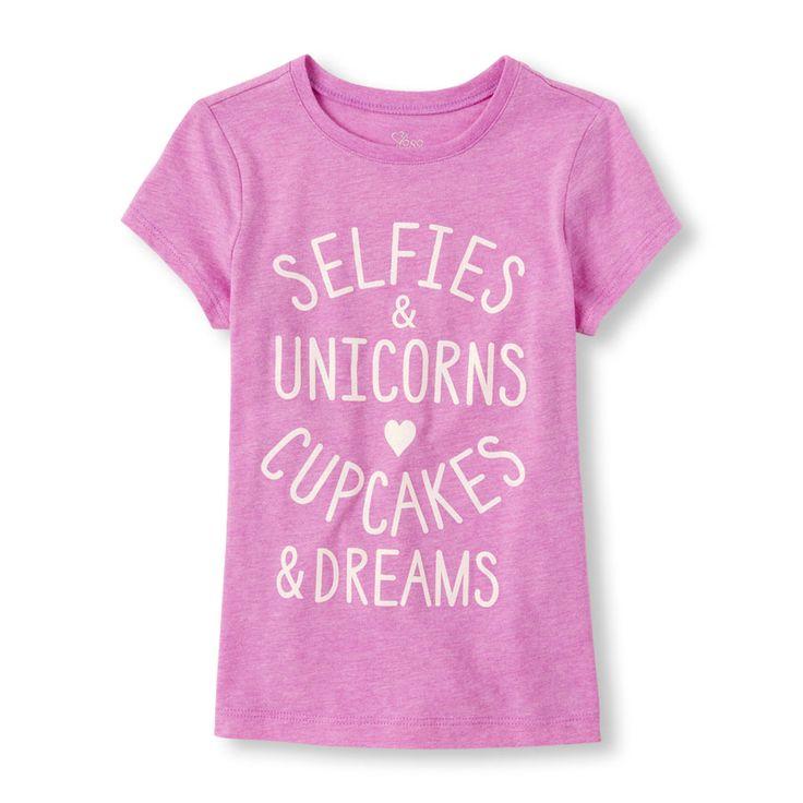 Girls Short Sleeve 'Selfies & Unicorns Cupcakes & Dreams' Graphic Tee