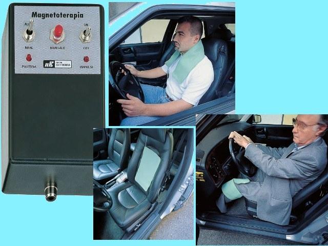 Magnetoterapia Alta Frequenza per Auto   E' stata realizzata per quelle persone che, per motivi di lavoro, passano  molto tempo in auto  come ad es.  rappresentanti, autotrasportatori, taxisti, ecc. e che, viaggiando con i finestrini aperti o con l'aria condizionata in funzione, sono spesso afflitti da forti dolori alla schiena e alle articolazioni.  Proprio costoro , avendo a disposizione una magnetoterapia a 12 volt , si possono curare in auto prelevando questa tensione dall'accendisigari